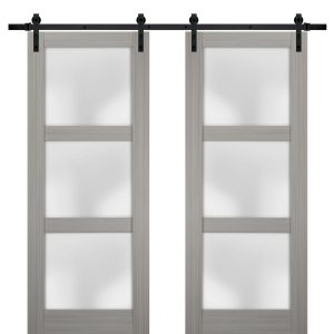 Sturdy Double Barn Door with Frosted Glass | Lucia 2552 Grey Ash | 13FT Rail Hangers Heavy Set | Solid Panel Interior Doors