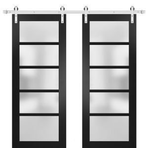 Sturdy Double Barn Door with Frosted Glass | Quadro 4002 Matte Black | Stainless Steel 13FT Rail Hangers Heavy Set | Solid Panel Interior Doors