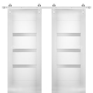 Modern Double Barn Door with Opaque Glass / Sete 6900 White Silk / Stainless Steel 13FT Rail Track Set / Solid Panel Interior Doors