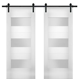 Modern Double Barn Door with Opaque Glass / Sete 6003 White Silk / 13FT Rail Track Set / Solid Panel Interior Doors