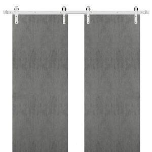 Sturdy Double Barn Door with | Planum 0010 Concrete | Stainless Steel 13FT Rail Hangers Heavy Set | Solid Panel Interior Doors