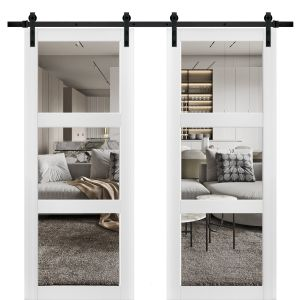 Sturdy Double Barn Door with Clear Glass 3 Lites | Lucia 2555 Matte White| 13FT Rail Hangers Heavy Set | Solid Panel Interior Doors