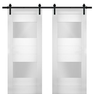 Modern Double Barn Door with Opaque Glass 2 Lites / Sete 6222 White Silk / 13FT Rail Track Set / Solid Panel Interior Doors