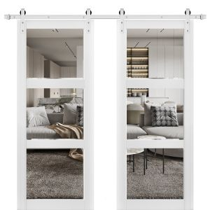 Sturdy Double Barn Door with Clear Glass 3 Lites | Lucia 2555 Matte White| Stainless Steel 13FT Rail Hangers Heavy Set | Solid Panel Interior Doors
