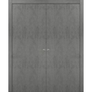 Solid French Double Doors | Planum 0010 Concrete | Wood Solid Panel Frame Trims | Closet Bedroom Sturdy Doors