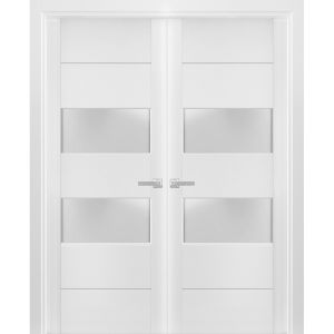 Solid French Double Doors Frosted Glass 2 lites   Lucia 4010 White Silk   Wood Solid Panel Frame Trims   Closet Bedroom Sturdy Doors