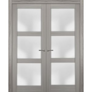 Solid French Double Doors Frosted Glass | Lucia 2552 Grey Ash | Wood Solid Panel Frame Trims | Closet Bedroom Sturdy Doors