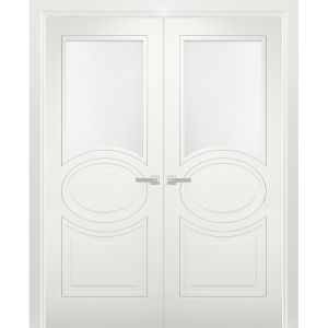 Solid French Double Doors Opaque Glass / Mela 7012 Matte White / Wood Solid Panel Frame / Closet Bedroom Modern Doors