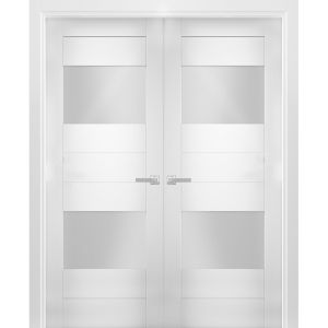 Solid French Double Doors Opaque Glass 2 Lites / Sete 6222 White Silk / Wood Solid Panel Frame / Closet Bedroom Modern Doors