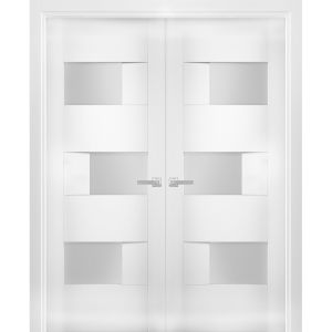 Solid French Double Doors Opaque Glass / Sete 6933 White Silk / Wood Solid Panel Frame / Closet Bedroom Modern Doors