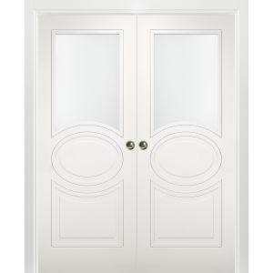 Sliding French Double Pocket Doors Opaque Glass / Mela 7012 Matte White / Kit Rail Hardware / MDF Interior Bedroom Modern Doors