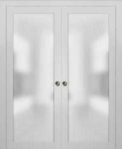 Planum 2102 Interior Sliding Closet Double Pocket Doors White Silk with Frames Tracks Pulls