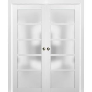 French Double Pocket Doors | Quadro 4002 White Silk with Frosted Opaque Glass | Kit Trims Rail Hardware | Solid Wood Interior Pantry Kitchen Bedroom Sliding Closet Sturdy Door