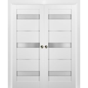 French Double Pocket Doors   Quadro 4055 White Silk with Frosted Opaque Glass   Kit Trims Rail Hardware   Solid Wood Interior Pantry Kitchen Bedroom Sliding Closet Sturdy Door