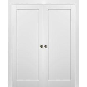 French Double Pocket Doors   Quadro 4111 White Silk   Kit Trims Rail Hardware   Solid Wood Interior Pantry Kitchen Bedroom Sliding Closet Sturdy Door