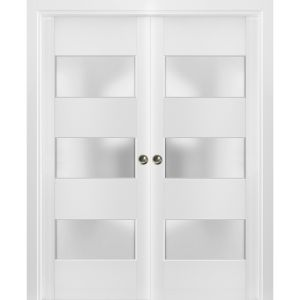 Sliding French Double Pocket Doors Frosted Glass 3 Lites | Lucia 4070 White Silk | Kit Trims Rail Hardware | Solid Wood Interior Bedroom Sturdy Doors