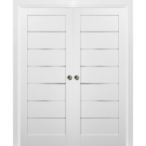 French Double Pocket Doors | Quadro 4117 White Silk with Frosted Opaque Glass | Kit Trims Rail Hardware | Solid Wood Interior Pantry Kitchen Bedroom Sliding Closet Sturdy Door