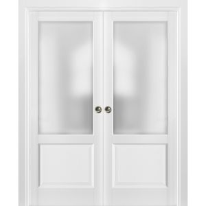 French Double Pocket Doors | Lucia 22 White Silk with Frosted Opaque Glass | Kit Trims Rail Hardware | Solid Wood Interior Pantry Kitchen Bedroom Sliding Closet Sturdy Door