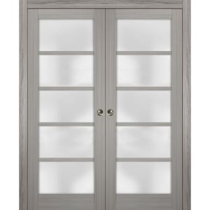 Sliding French Double Pocket Doors Frosted Glass | Quadro 4002 Grey Ash | Kit Trims Rail Hardware | Solid Wood Interior Bedroom Sturdy Doors