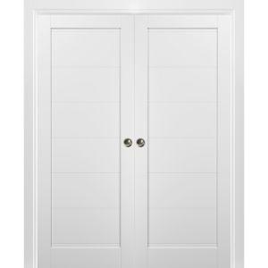 French Double Pocket Doors | Quadro 4115 White Silk | Kit Trims Rail Hardware | Solid Wood Interior Pantry Kitchen Bedroom Sliding Closet Sturdy Door