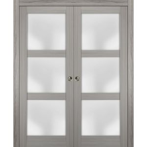 Sliding French Double Pocket Doors Frosted Glass | Lucia 2552 Grey Ash | Kit Trims Rail Hardware | Solid Wood Interior Bedroom Sturdy Doors