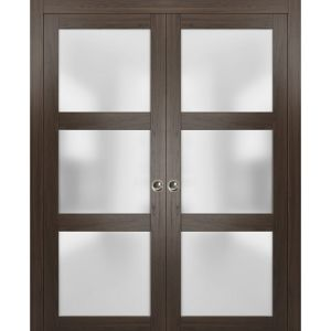 Sliding French Double Pocket Doors Frosted Glass | Lucia 2552 Chocolate Ash | Kit Trims Rail Hardware | Solid Wood Interior Bedroom Sturdy Doors