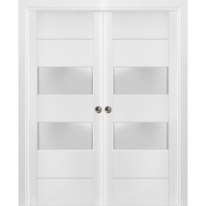 Sliding French Double Pocket Doors Frosted Glass 2 lites   Lucia 4010 White Silk   Kit Trims Rail Hardware   Solid Wood Interior Bedroom Sturdy Doors