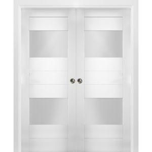 Sliding French Double Pocket Doors Opaque Glass 2 Lites / Sete 6222 White Silk / Kit Rail Hardware / MDF Interior Bedroom Modern Doors