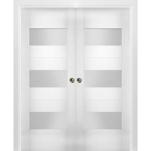 Sliding French Double Pocket Doors Opaque Glass / Sete 6003 White Silk / Kit Rail Hardware / MDF Interior Bedroom Modern Doors
