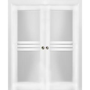 Sliding French Double Pocket Doors Opaque Glass 4 Lites / Mela 7222 White Silk / Kit Rail Hardware / MDF Interior Bedroom Modern Doors