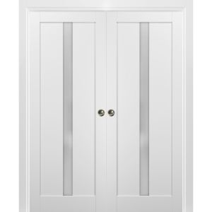French Double Pocket Doors | Quadro 4112 White Silk with Frosted Opaque Glass | Kit Trims Rail Hardware | Solid Wood Interior Pantry Kitchen Bedroom Sliding Closet Sturdy Door