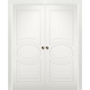 Sliding French Double Pocket Doors / Mela 7001 Matte White / Kit Rail Hardware / MDF Interior Bedroom Modern Doors