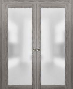 Planum 2102 Interior Sliding Closet Double Pocket Doors Ginger Ash with Frames Tracks Pulls