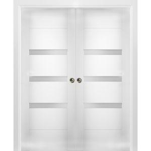 Sliding French Double Pocket Doors Opaque Glass / Sete 6900 White Silk / Kit Rail Hardware / MDF Interior Bedroom Modern Doors