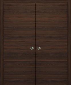 Planum 0010 Modern Interior Closet Sliding Flush Double Pocket Chocolate Ash with Frames Tracks Hardware Set