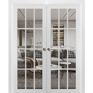 Sliding French Double Pocket Doors Clear Glass 12 lites | Felicia 3355 Matte White | Kit Trims Rail Hardware | Solid Wood Interior Bedroom Sturdy Doors