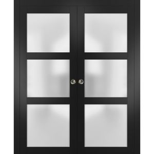 Sliding French Double Pocket Doors Frosted Glass | Lucia 2552 Matte Black | Kit Trims Rail Hardware | Solid Wood Interior Bedroom Sturdy Doors