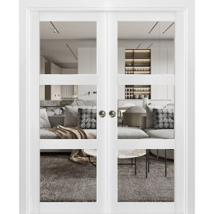 Sliding French Double Pocket Doors Clear Glass 3 Lites | Lucia 2555 Matte White| Kit Trims Rail Hardware | Solid Wood Interior Bedroom Sturdy Doors