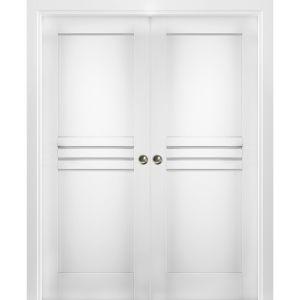 Sliding French Double Pocket Doors / Mela 7444 White Silk / Kit Rail Hardware / MDF Interior Bedroom Modern Doors
