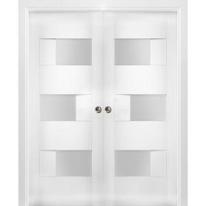 Sliding French Double Pocket Doors Opaque Glass / Sete 6933 White Silk / Kit Rail Hardware / MDF Interior Bedroom Modern Doors