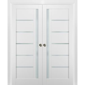 French Double Pocket Doors | Quadro 4088 White Silk with Frosted Opaque Glass | Kit Trims Rail Hardware | Solid Wood Interior Pantry Kitchen Bedroom Sliding Closet Sturdy Door