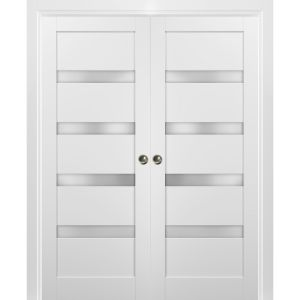 French Double Pocket Doors | Quadro 4113 White Silk with Frosted Opaque Glass | Kit Trims Rail Hardware | Solid Wood Interior Pantry Kitchen Bedroom Sliding Closet Sturdy Door