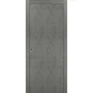 Sliding French Pocket Door with | Planum 0010 Concrete | Kit Trims Rail Hardware | Solid Wood Interior Bedroom Sturdy Doors