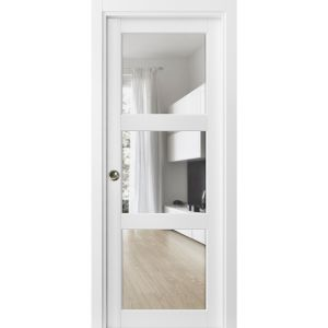 Sliding French Pocket Door with Clear Glass 3 Lites | Lucia 2555 Matte White| Kit Trims Rail Hardware | Solid Wood Interior Bedroom Sturdy Doors