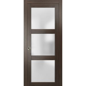 Sliding French Pocket Door with Frosted Glass | Lucia 2552 Chocolate Ash | Kit Trims Rail Hardware | Solid Wood Interior Bedroom Sturdy Doors
