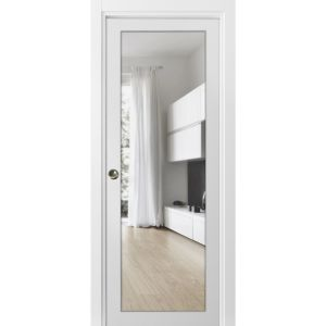 Sliding French Pocket Door with Clear Glass | Lucia 2166 White Silk | Kit Trims Rail Hardware | Solid Wood Interior Bedroom Sturdy Doors