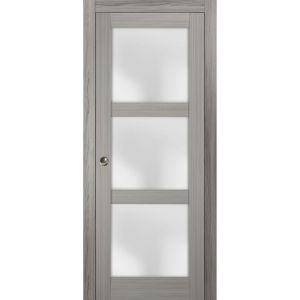 Sliding French Pocket Door with Frosted Glass | Lucia 2552 Grey Ash | Kit Trims Rail Hardware | Solid Wood Interior Bedroom Sturdy Doors
