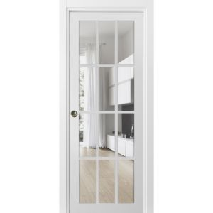 Sliding French Pocket Door with Clear Glass 12 lites | Felicia 3355 Matte White | Kit Trims Rail Hardware | Solid Wood Interior Bedroom Sturdy Doors