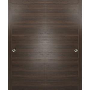 Planum 0010 Interior Closet Sliding Solid Wood Bypass Doors Chocolate Ash with Track Hardware Set