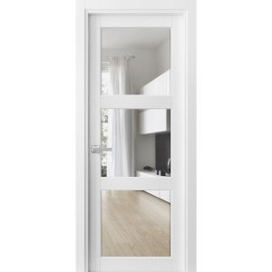 Solid French Door Clear Glass 3 Lites | Lucia 2555 Matte White | Single Regular Panel Frame Trims Handle | Bathroom Bedroom Sturdy Doors